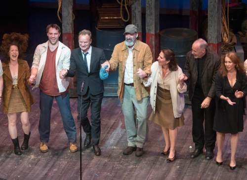 """Rick Egan     The Salt Lake Tribune  Sting makes some comments after Pioneer Theatre Company's performance of """"The Last Ship,"""" Thursday, Sept. 22, 2016."""
