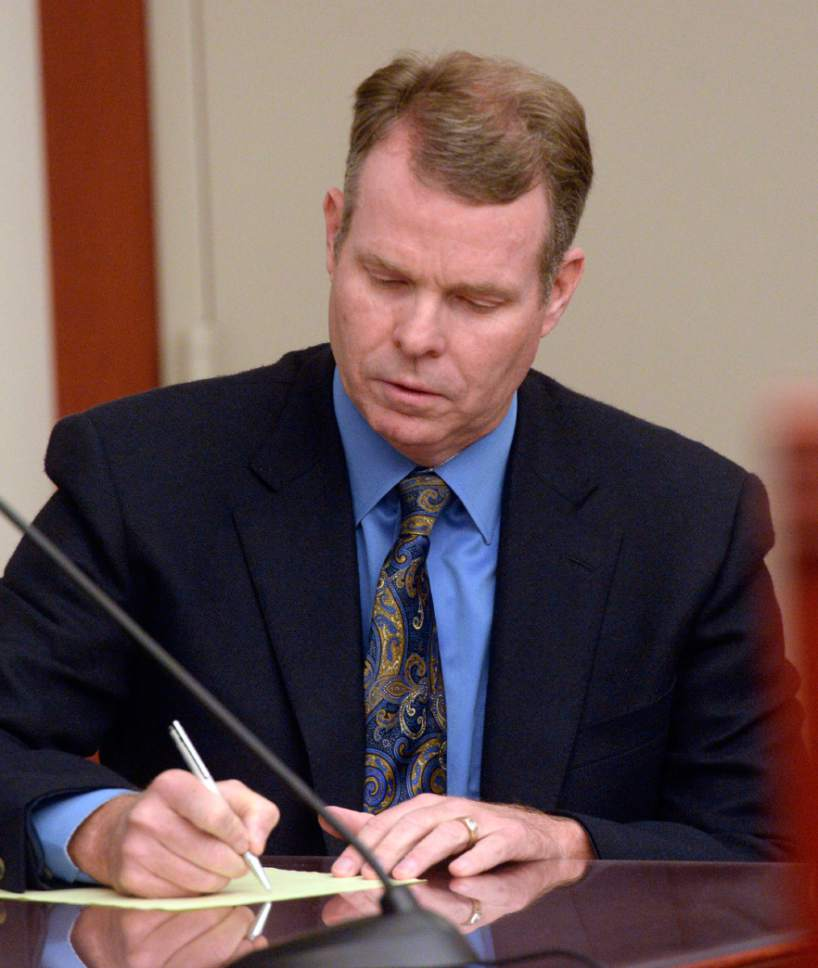 Al Hartmann  |  The Salt Lake Tribune  Former Utah Attorney General John Swallow appears in court on Wednesday, July 13, 2016.  His attorneys argued that charges against him should be dismissed.