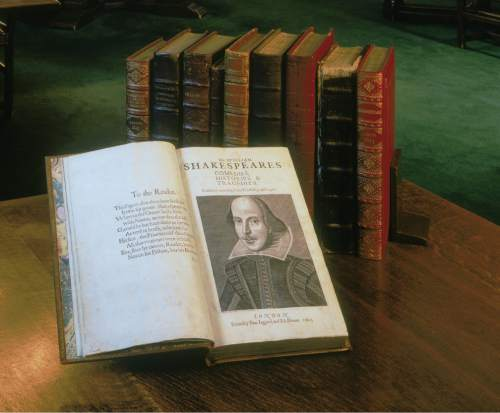 A copy of Shakespeare's First Folio -- a compilation of 36 plays, published in 1623 -- is on display at the Salt Lake Public Library, in conjunction with a month-long series of workshops and events designed to mark the 400th anniversary of William Shakespeare's death. Courtesy  |  Shakespeare First Folio, 1623. Folger Shakespeare Library