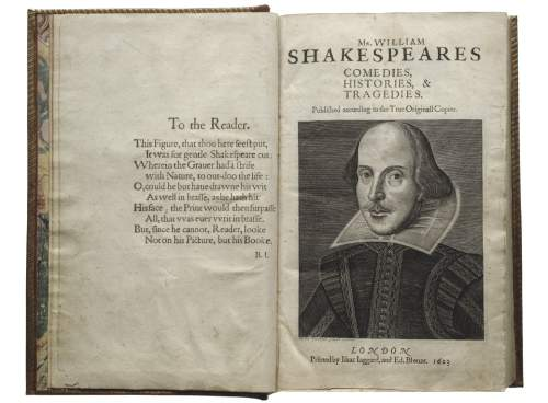 A copy of Shakespeare's First Folio -- a compilation of 36 plays, published in 1623 -- is on display at the Salt Lake Public Library, in conjunction with a month-long series of workshops and events designed to mark the 400th anniversary of William Shakespeare's death. Courtesy  |  Shakespeare First Folio, 1623. Folger Shakespeare Library.
