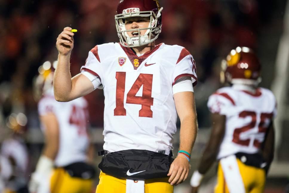 Chris Detrick     The Salt Lake Tribune USC Trojans quarterback Sam Darnold (14) during the first half of the game at Rice-Eccles Stadium Friday September 23, 2016.