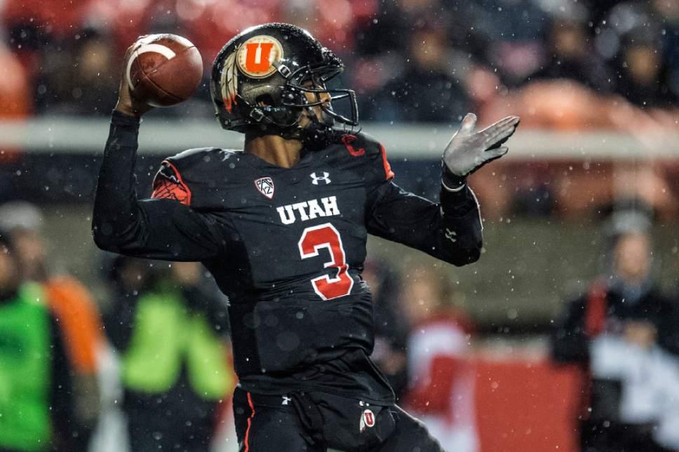 Chris Detrick     The Salt Lake Tribune Utah Utes quarterback Troy Williams (3) passes the ball during the game at Rice-Eccles Stadium Friday September 23, 2016. Utah Utes defeated USC Trojans 31-27.