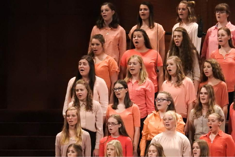 Trent Nelson  |  The Salt Lake Tribune A choir sings at the General Women's Session of the 186th Semiannual General Conference, in Salt Lake City, Saturday September 24, 2016.