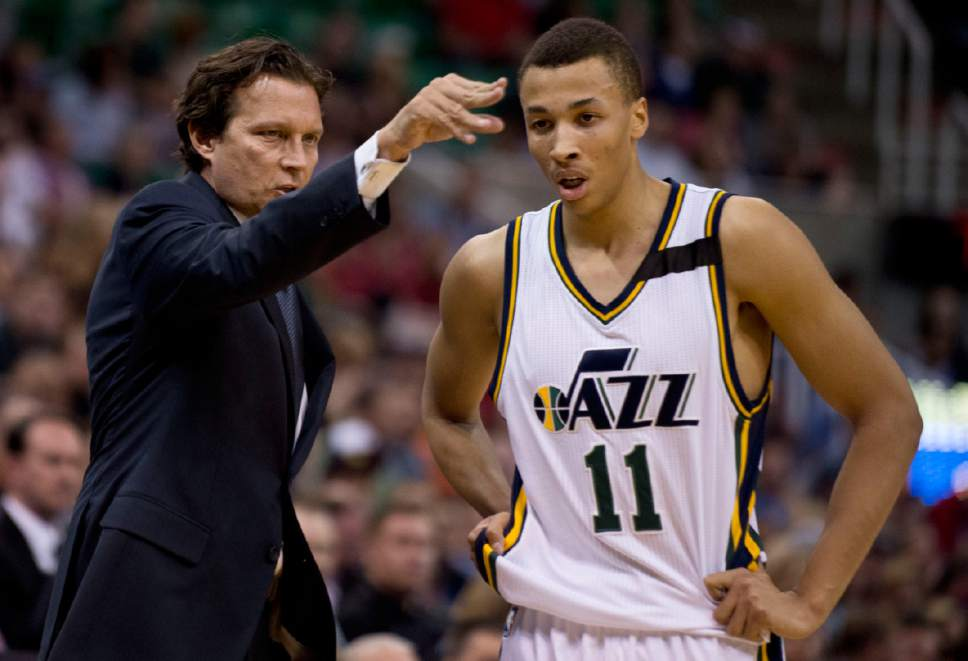 Lennie Mahler  |  The Salt Lake Tribune  Quin Snyder talks to Dante Exum in the first half as the Utah Jazz faced the Dallas Mavericks at EnergySolutions Arena on Monday, April 13, 2015.