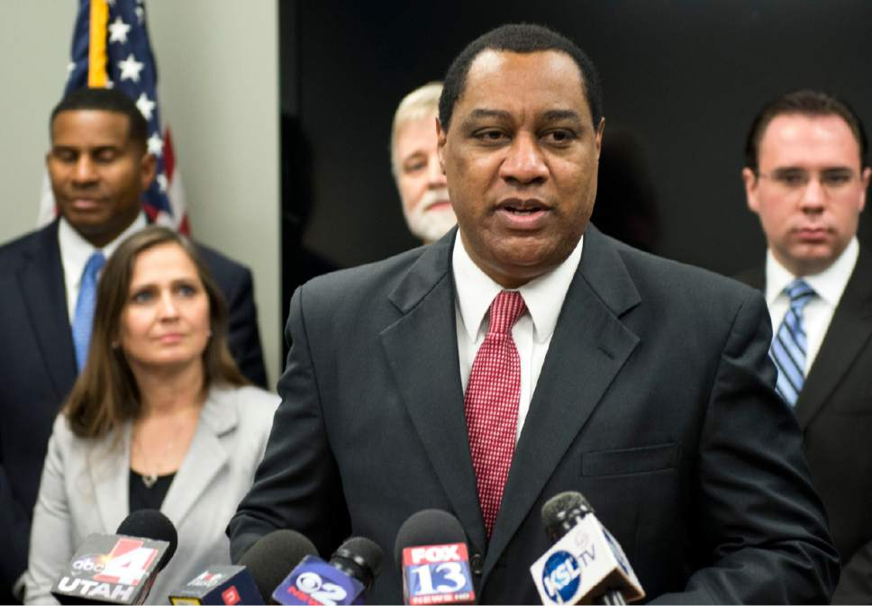 Lennie Mahler     Tribune file photo Utah GOP Chairman James Evans speaks about SB54 during a press conference last year at the Utah Republican Party headquarters.