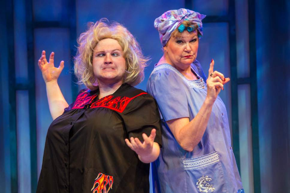 """Chris Detrick     The Salt Lake Tribune Eb Madson. left, and Annette Wright as Heavenly Mother act out a scene during a preview of """"Saturday's Voyeur,"""" at Salt Lake Acting Company on Tuesday, June 14, 2016."""