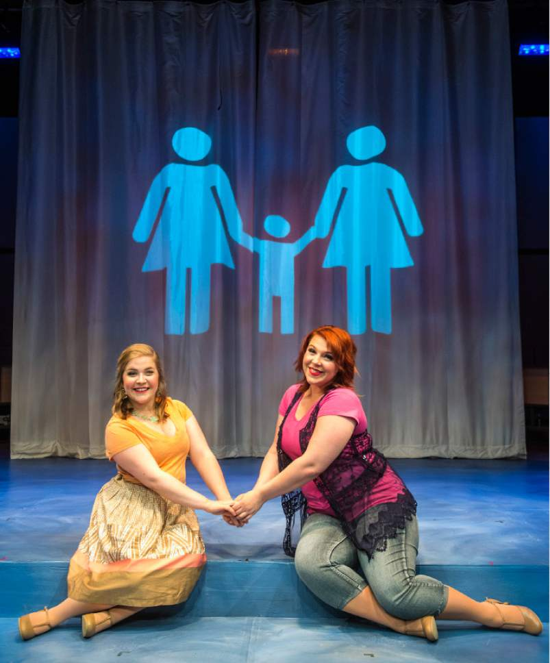 """Chris Detrick     The Salt Lake Tribune Amanda Wright and Becky Cole act out a scene during a preview of """"Saturday's Voyeur,"""" at Salt Lake Acting Company on Tuesday, June 14, 2016."""