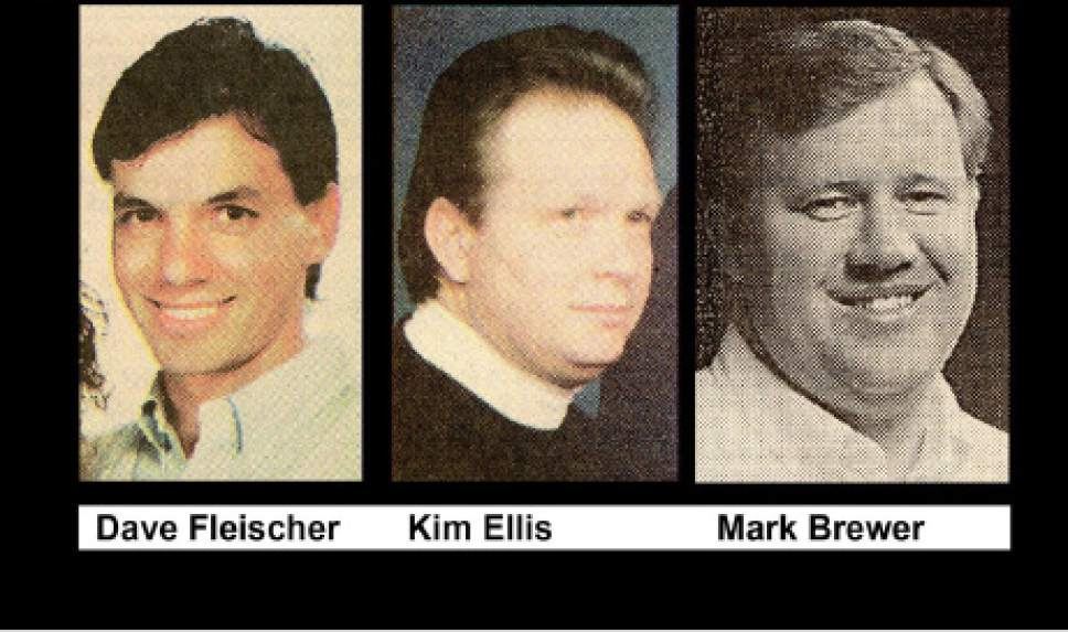 |  courtesy Noel de Nevers  Excursion leaders Dave Fleischer and Kim Ellis died in the 1993 flood; Mark Brewer survived.