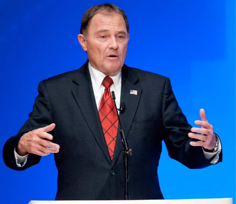 John Zsiray  |  Pool Photo  Utah Gov. Gary Herbert speaks during a gubernatorial debate with challenger Mike Weinholtz at the Caine Performance Hall at Utah State University, Monday, Sept. 26, 2016, in Logan, Utah.