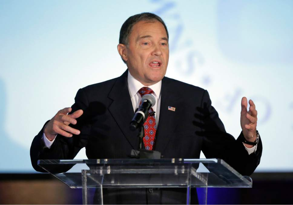 Republican Gov. Gary Herbert speaks at his first debate with Democratic challenger Mike Weinholtz Friday, Sept. 16, 2016, in Salt Lake City. Herbert and his re-election challenger Weinholtz are sparring over a GOP-supported push to take control of the state's public lands from the U.S. government. (AP Photo/Rick Bowmer)
