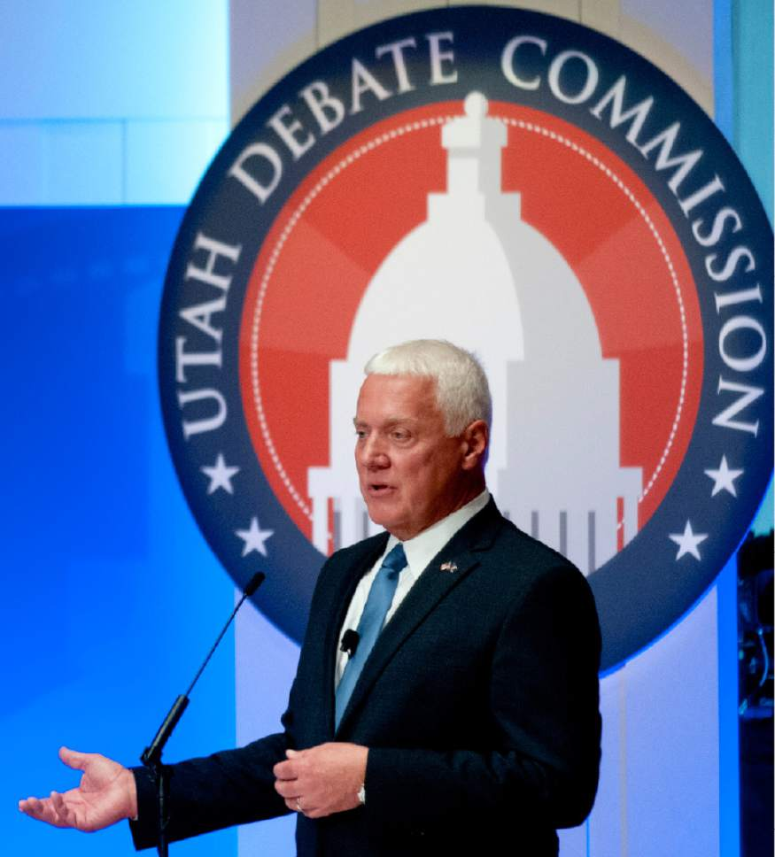 John Zsiray  |  Pool Photo  Democratic governor candidate Mike Weinholtz speaks during a gubernatorial debate with Utah Gov. Gary Herbert at the Caine Performance Hall at Utah State University, Monday, Sept. 26, 2016, in Logan, Utah.