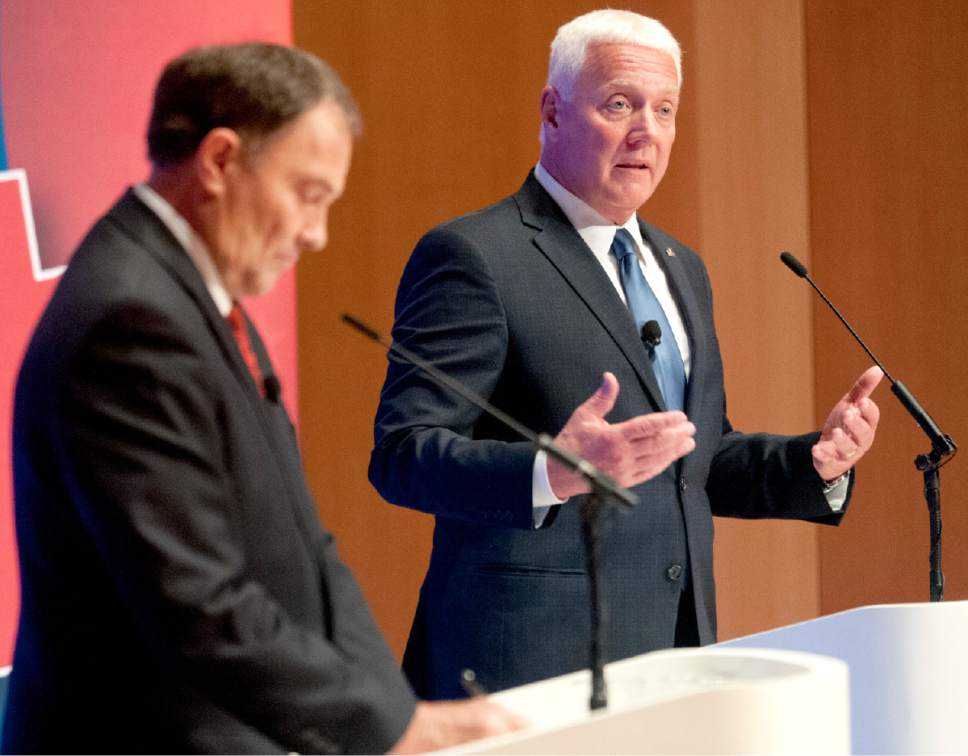 John Zsiray  |  Pool Photo  Democratic governor candidate Mike Weinholtz, right, speaks during a gubernatorial debate with Utah Gov. Gary Herbert at the Caine Performance Hall at Utah State University, Monday, Sept. 26, 2016, in Logan, Utah.