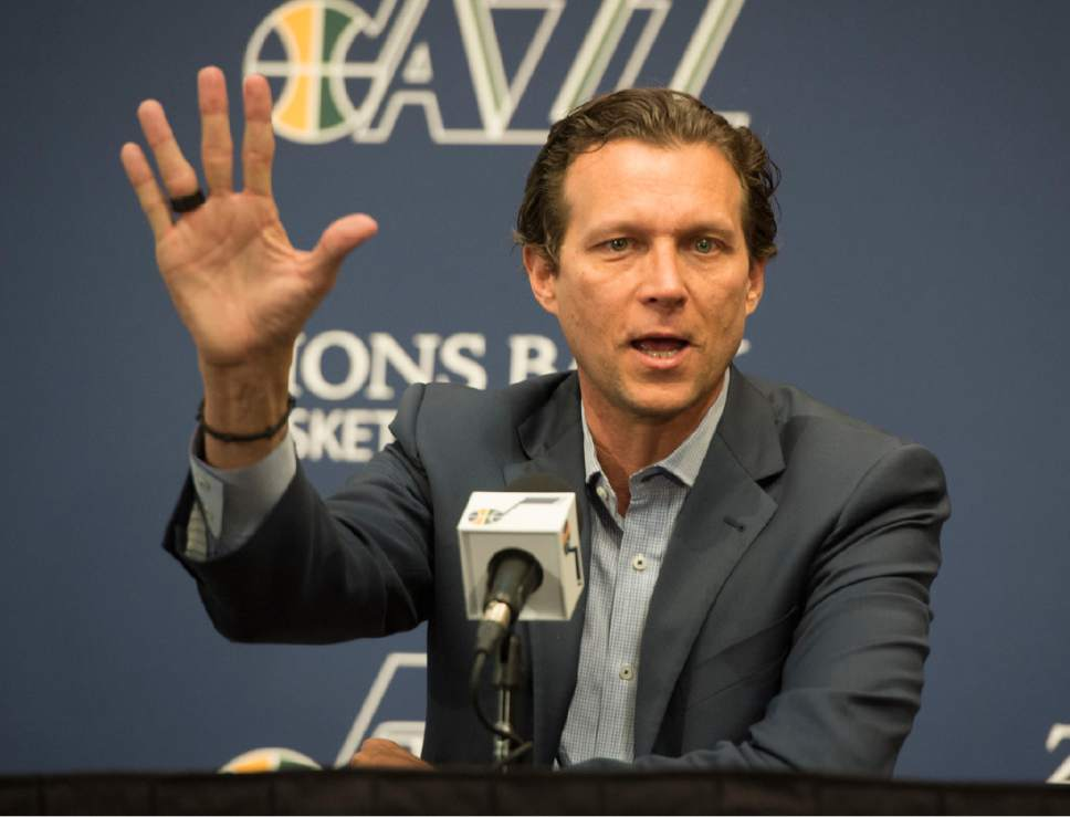 Rick Egan  |  The Salt Lake Tribune  Jazz Head coach Quin Snyder talks about the Jazz season and at the outlook for the future at the Jazz practice facility, Thursday, April 14, 2016.