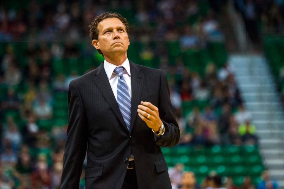 Chris Detrick  |  The Salt Lake Tribune Utah Jazz head coach Quin Snyder during the game at EnergySolutions Arena Thursday October 22, 2015.