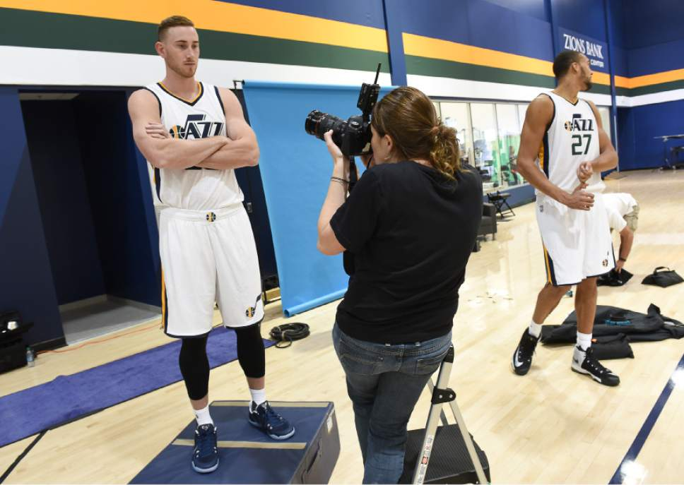 Francisco Kjolseth | The Salt Lake Tribune Gordon Hayward gets his portrait taken by team photographer Melissa Majchrzak as the Utah Jazz opens training camp with media day for players at the team's training facility in Salt Lake on Monday, Sept. 26, 2016.