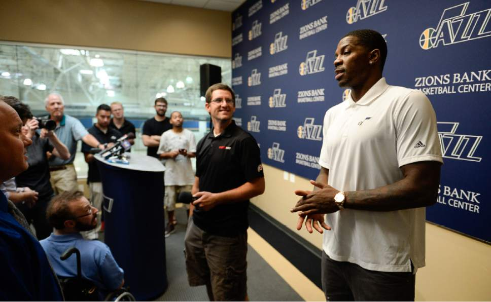 Francisco Kjolseth | The Salt Lake Tribune The Utah Jazz introduce one of their newest players, Joe Johnson, during a press announcement on Friday, July, 8, 2016. Johnson who last played for the Miami Heat, enters his 16th season with the NBA.
