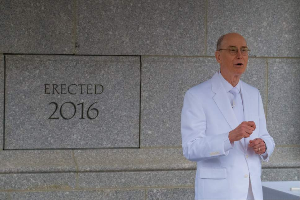 Courtesy     LDS Newsroom  President Henry B. Eyring, first counselor in the First Presidency of The Church of Jesus Christ of Latter-day Saints, explains the significance of sealing the temple's cornerstone.
