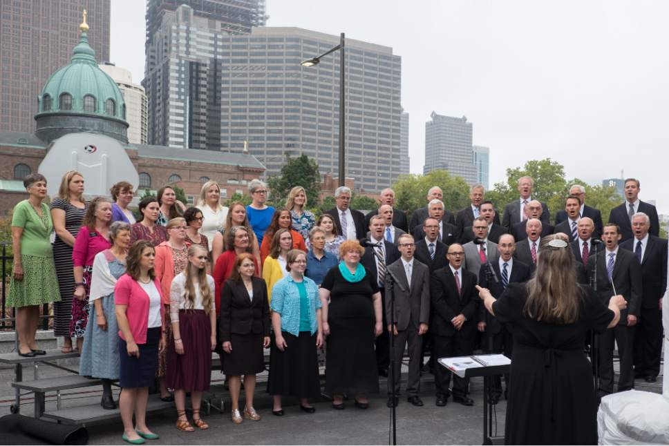 Courtesy     LDS Newsroom  A choir of Latter-day Saints provided music for the traditional cornerstone ceremony just prior to the dedication of the Philadelphia Pennsylvania Temple.