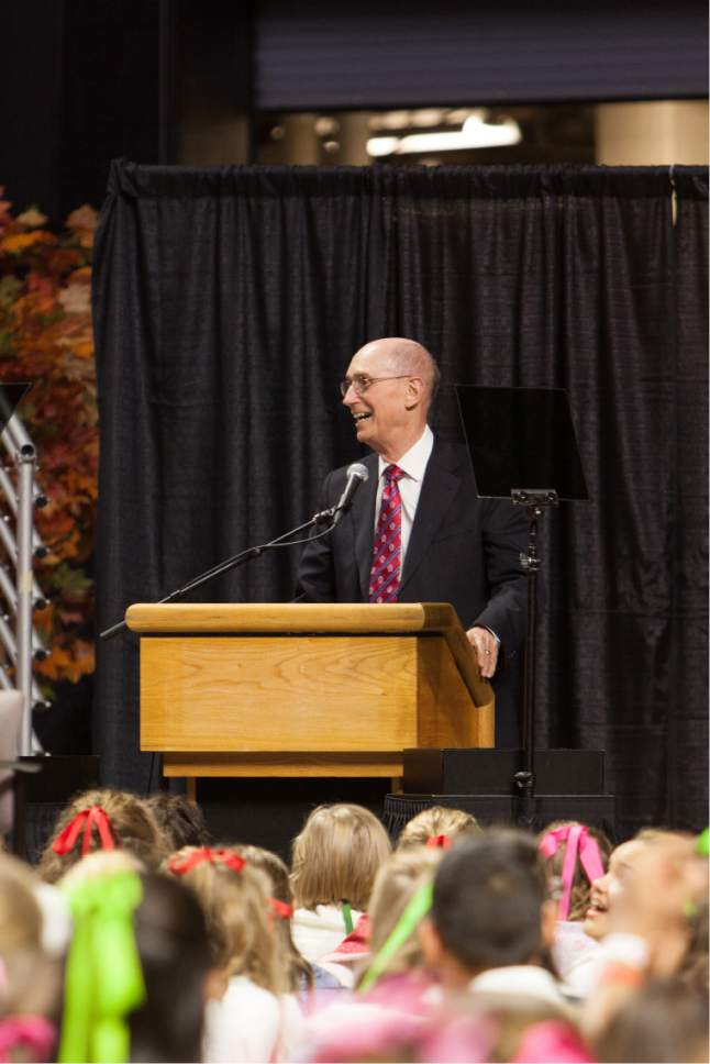 Courtesy     LDS Newsroom  President Henry B. Eyring, first counselor in the First Presidency of The Church of Jesus Christ of Latter-day Saints, speaks to the Mormon youth performers of the cultural celebration. The event, held prior to the dedication of the Philadelphia Pennsylvania Temple, honors the historical events of the area and the completion of the temple.