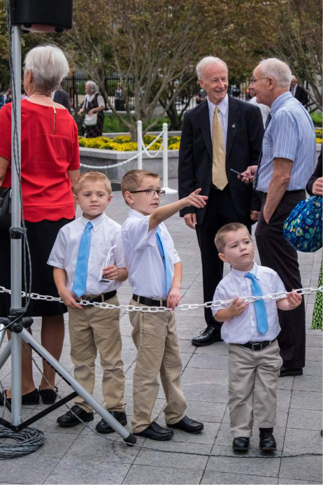 Courtesy     LDS Newsroom  Three Latter-day Saint brothers are excited to have leaders of the Church in their city for the dedication of the Philadelphia Pennsylvania Temple.