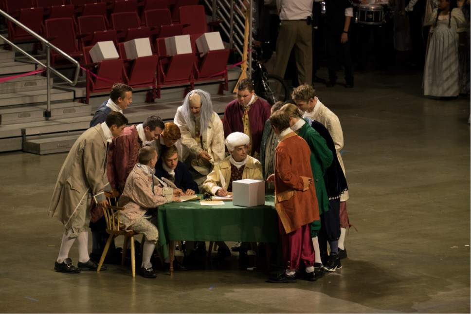 Courtesy     LDS Newsroom  A short reenactment of the signing of the Declaration of Independence was one of the highlights of the cultural celebration.