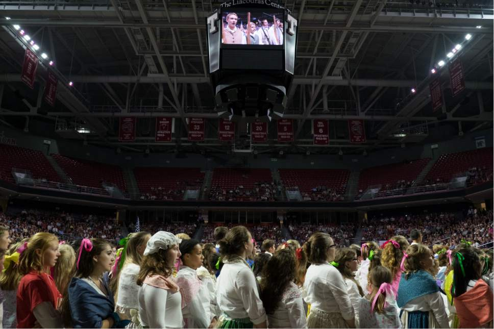 Courtesy     LDS Newsroom  One day before the temple was dedicated several hundred Latter-day Saint youth participated in a cultural celebration marking the completion of the temple with song and dance honoring the state's heritage and the history of the Church in Pennsylvania. The performance was held at the Liacouras Center at Temple University in Philadelphia.