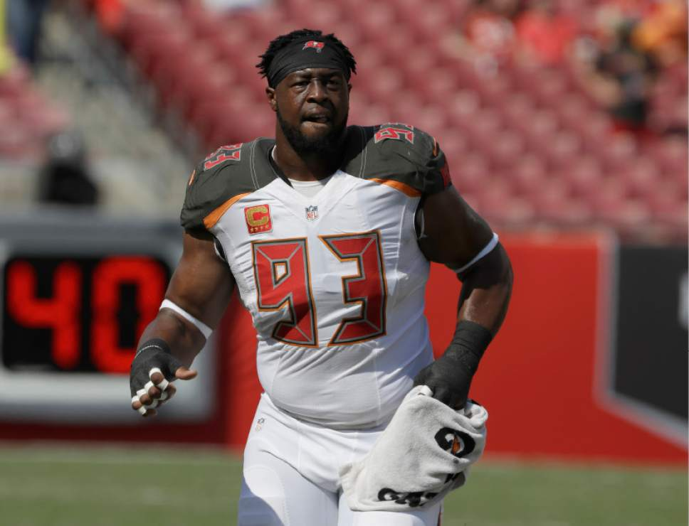 FILE - This Sunday, Sept. 25, 2016 file photo shows Tampa Bay Buccaneers defensive tackle Gerald McCoy (93) before an NFL football game against the Los Angeles Rams in Tampa, Fla. The Buccaneers play the Denver Broncos on Sunday, Oct. 2, 2016. (AP Photo/Chris O'Meara, File)