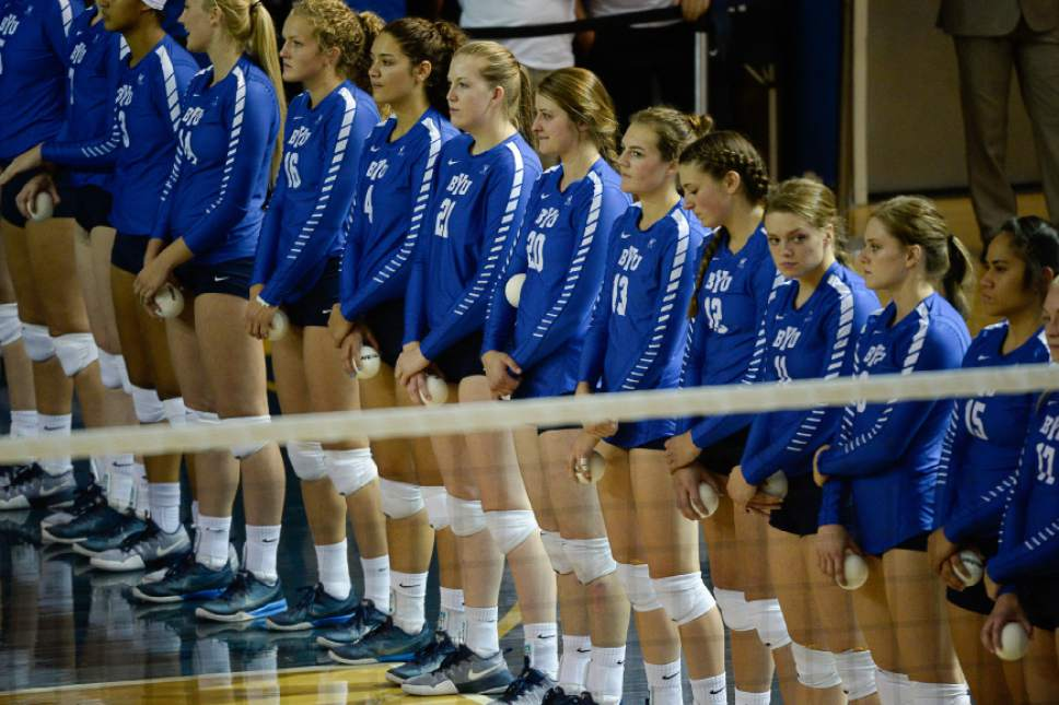 Francisco Kjolseth | The Salt Lake Tribune BYU players line up before taking on Utah in women's volleyball at the Smith Fieldhouse in Provo on Thursday, Sept. 15, 2016.