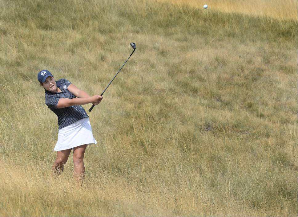 Scott Sommerdorf   |  The Salt Lake Tribune   Kendra Dalton makes a save on her second shot from the rough on 15 as she wins the 2016 Utah Women's State Amateur golf tournament over Lea Garner - both of BYU - at Victory Ranch Golf Club in Francis, Friday, August 5, 2016.