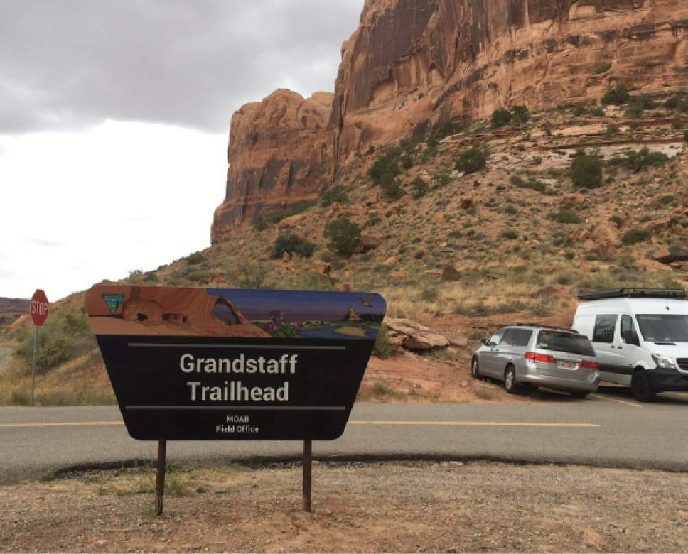 Photo courtesy of Bureau of Land Management Vandals stole this sign Wednesday night or Thursday morning, about five days after BLM installed it at the trailhead to Negro Bill Canyon, northeast of Moab. The sign honors the canyon's namesake pioneer, William Grandstaff, who migrated from the American South in 1877, settling in Moab where he found a new life as a cowboy and prospector.