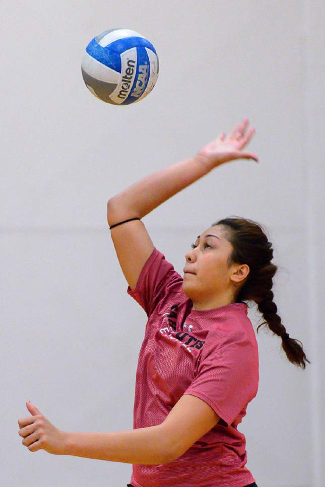 Trent Nelson  |  The Salt Lake Tribune Adora Anae is a steadily rising star for the University of Utah volleyball team. Anae was photographed at practice on the Crimson Court in Salt Lake City, Wednesday September 28, 2016.