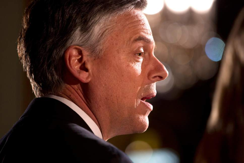 Evan Vucci  |  AP file photo This 2012 photo in Manchester, N.H., shows Jon Huntsman Jr. on the presidential campaign trail.