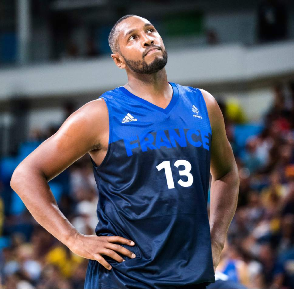 Rick Egan  |  The Salt Lake Tribune  Boris Diaw (13) of France checks out the scoreboard, as Australia extends their lead, in Olympic Basketball action. Australia defeated France 87-66, in Olympic Basketball action in Rio de Janeiro, Friday, August 5, 2016.