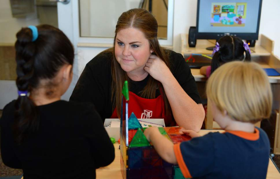 Steve Griffin / The Salt Lake Tribune   Lindsey Meyer works with her students as Lt. Gov. Spencer Cox visits a Head Start classroom as he and the Intergenerational Welfare Reform Commission officially release Utah's Fifth Annual Report on intergenerational poverty, welfare dependency and the use of public assistance during a press conference Thursday September 29, 2016. Utah is taking a unique approach to addressing intergenerational poverty by distinguishing from situational poverty and by using a two-generation approach to families by serving parents and children simultaneously in four focus areas: early childhood development, education, health and family economic stability.