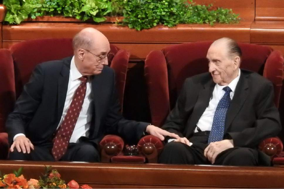 Trent Nelson  |  The Salt Lake Tribune Henry B. Eyring and LDS Church President Thomas S. Monson at the General Women's Session of the 186th Semiannual General Conference, in Salt Lake City, Saturday September 24, 2016.
