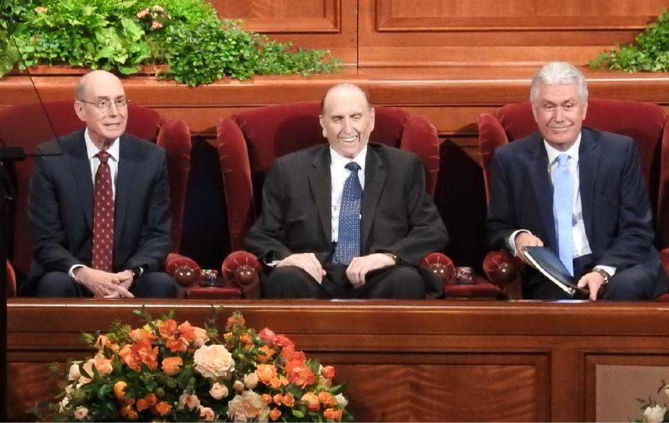 Trent Nelson  |  The Salt Lake Tribune Henry B. Eyring, LDS Church President Thomas S. Monson and Dieter F. Uchtdorf at the General Women's Session of the 186th Semiannual General Conference, in Salt Lake City, Saturday September 24, 2016.