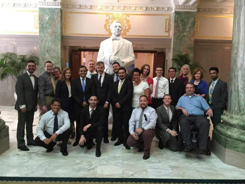 Courtesy photo International leaders of Affirmation met LDS public affairs representatives at the Joseph Smith Building in Salt Lake City.