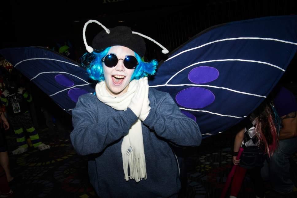 Chris Detrick  |  The Salt Lake Tribune Kaesi Bird, of Fort Benton, Montana, poses for a portrait as Blue Butterfly during Salt Lake Comic Con at the Salt Palace Convention Center Saturday September 3, 2016.
