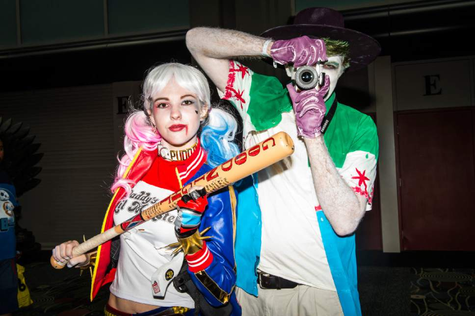 Chris Detrick  |  The Salt Lake Tribune Seth and Nadia Turek, of Provo, pose for a portrait as Harley Quinn and Joker during Salt Lake Comic Con at the Salt Palace Convention Center Saturday September 3, 2016.