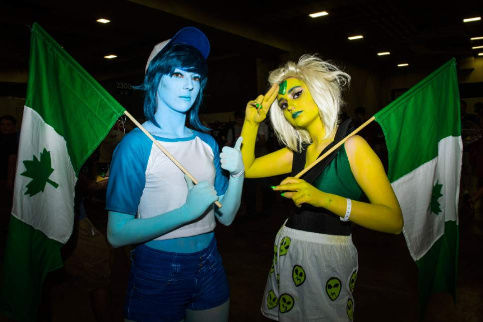 Chris Detrick  |  The Salt Lake Tribune Ashley Whittle and Izabelle Bryant, of Rexburg, Idaho, pose for a portrait as Peridot and Lapis Lazuli during Salt Lake Comic Con at the Salt Palace Convention Center Saturday September 3, 2016.