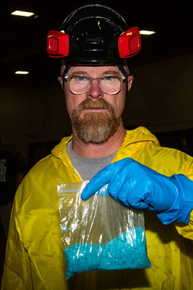 Chris Detrick  |  The Salt Lake Tribune Layne Nielson, of Logan, poses for a portrait as Walter White during Salt Lake Comic Con at the Salt Palace Convention Center Saturday September 3, 2016.