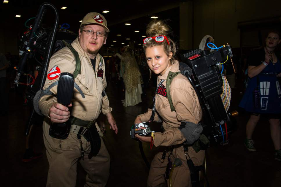 Chris Detrick  |  The Salt Lake Tribune Ghostbusters Jared and Brianna Ellsworth, of lehi, pose for a portrait during Salt Lake Comic Con at the Salt Palace Convention Center Saturday September 3, 2016.