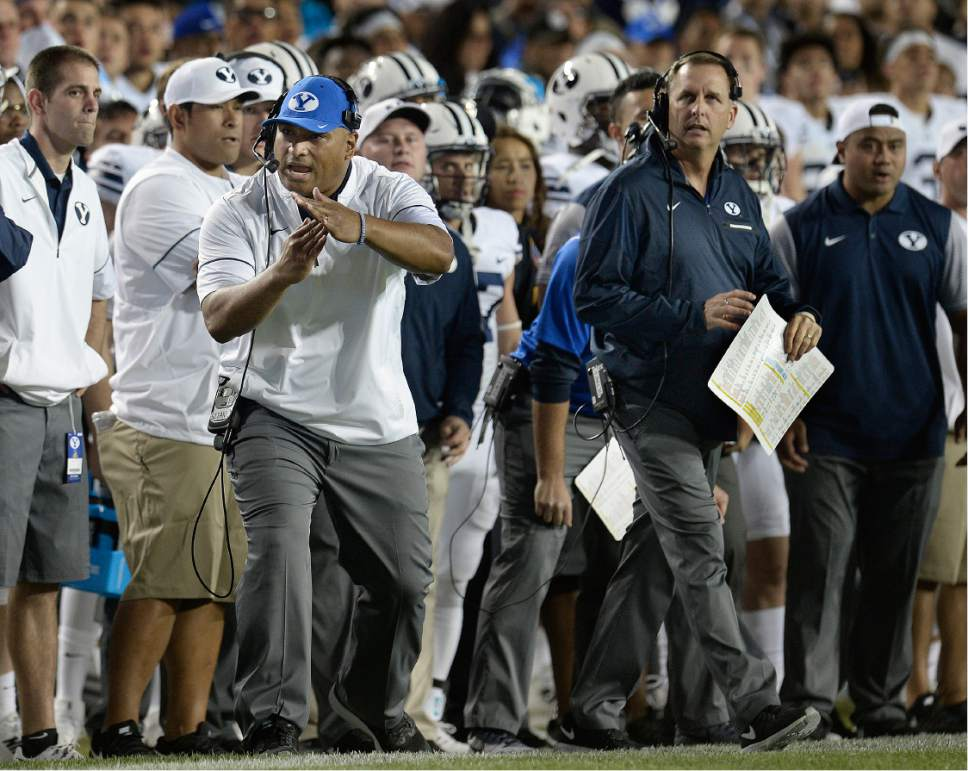 Scott Sommerdorf   |  The Salt Lake Tribune   Brigham Young Cougars head coach Kalani Sitake calls time out with just two seconds to spare to set up for the winning field goal. BYU defeated Toledo 55-53, Friday, September 30, 2016.