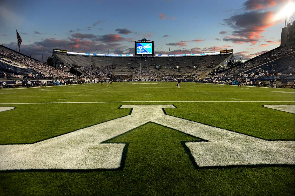 Scott Sommerdorf   |  The Salt Lake Tribune   As seen from behind the north end zone, the stadium begins to fill up about an hour before game -time. BYU later defeated Toledo 55-53, Friday, September 30, 2016.