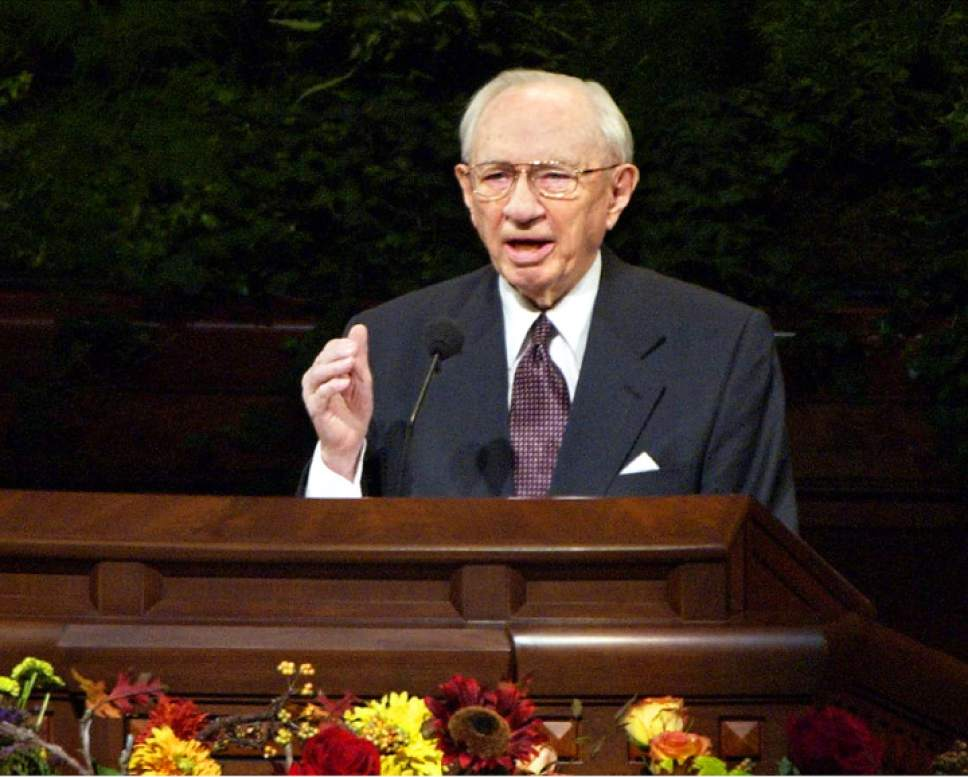 Tribune file photo President Gordon B. Hinckley, President of The Church of Jesus Christ of Latter-day Saints, announces the U.S military action in Afghanistan while addressing General Conference in October 2001.