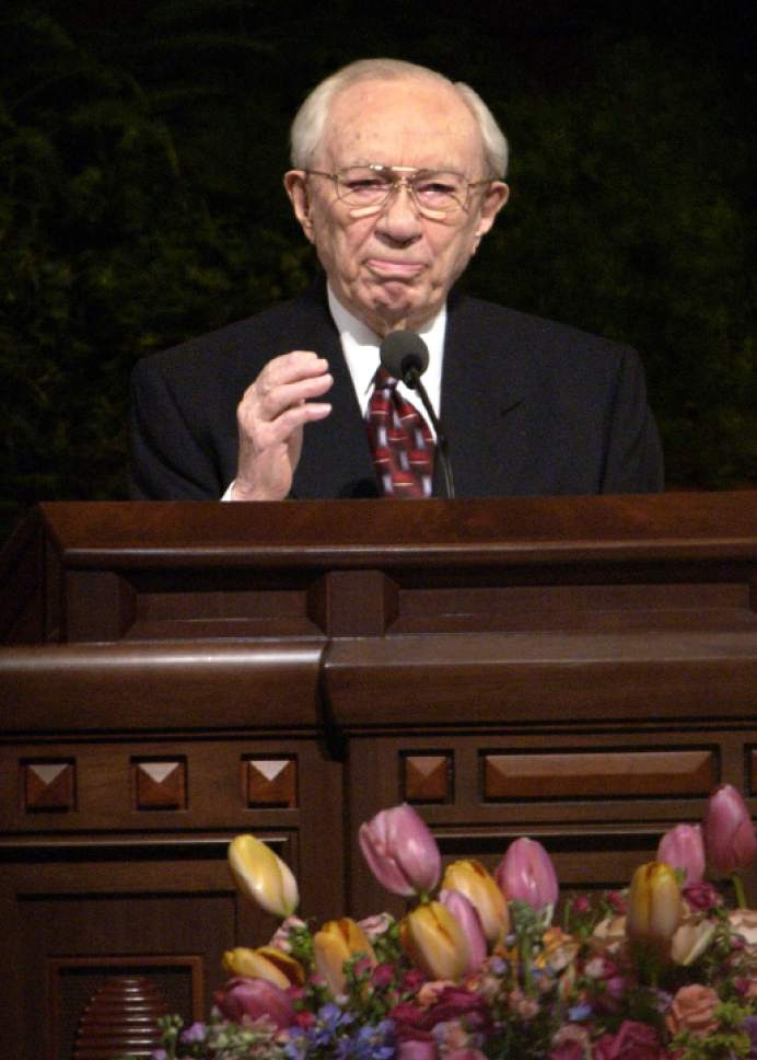 Tribune file photo  LDS church President  President Gordon B. Hinckley speaks about military action in Iraq during his talk at the LDS General Conference in April 2003.