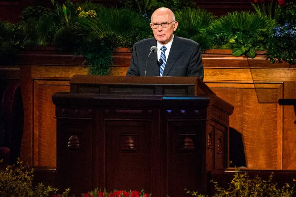 Chris Detrick  |  The Salt Lake Tribune Dallin H. Oaks, Quorum of the Twelve Apostles, speaks during the 185th Annual LDS General Conference Saturday April 4, 2015.