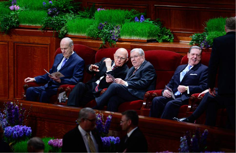 Scott Sommerdorf   |  The Salt Lake Tribune   Elders Russell M. Nelson, left, Dallin H. Oaks, M. Russell Ballard, and Jeffrey R. Holland of The Quorum of the Twelve, sit in their places prior to the start of the morning session of the 186th annual General Conference of the LDS Church, Sunday, April 3, 2016.