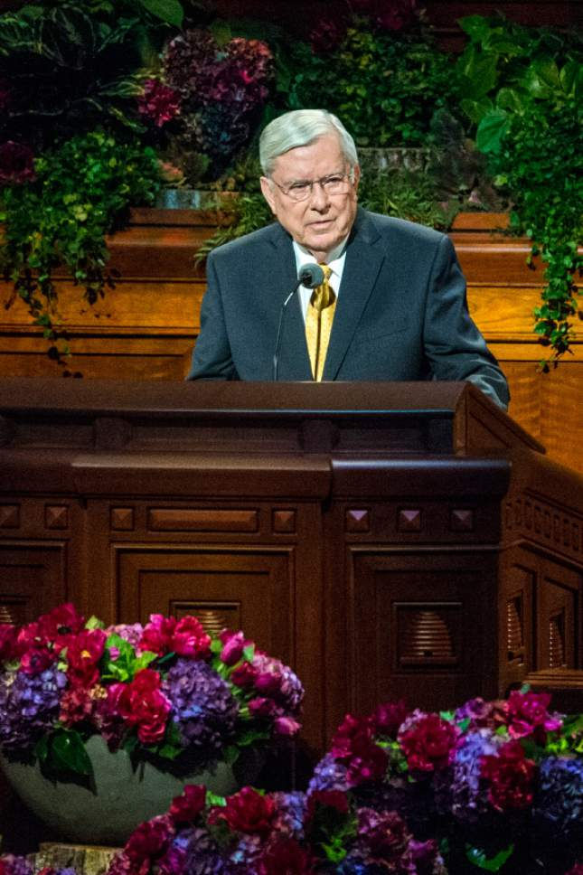 Chris Detrick  |  The Salt Lake Tribune M. Russell Ballard, Quorum of the Twelve Apostles, speaks during morning session of the 185th LDS General Conference at  the Conference Center in Salt Lake City Saturday October 3, 2015.