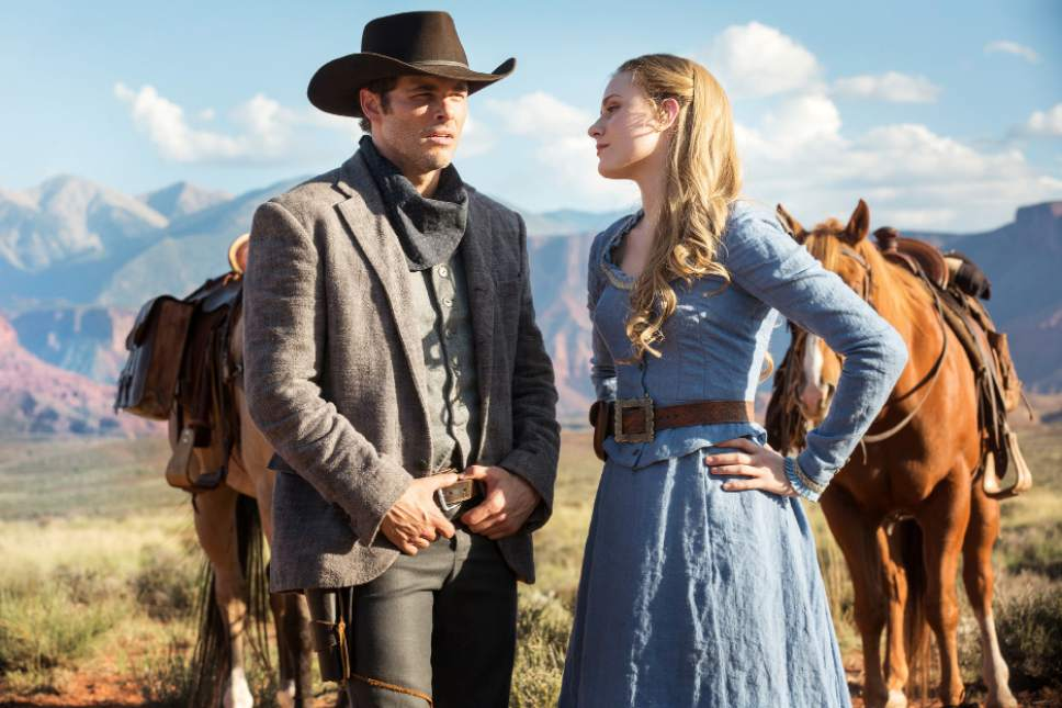 "James Marsden as Teddy Flood and Evan Rachel Wood as Dolores Abernathy in ""Westworld."" John P. Johnson  